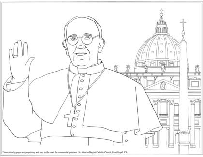 Pope Francis And Basilica Coloring Page